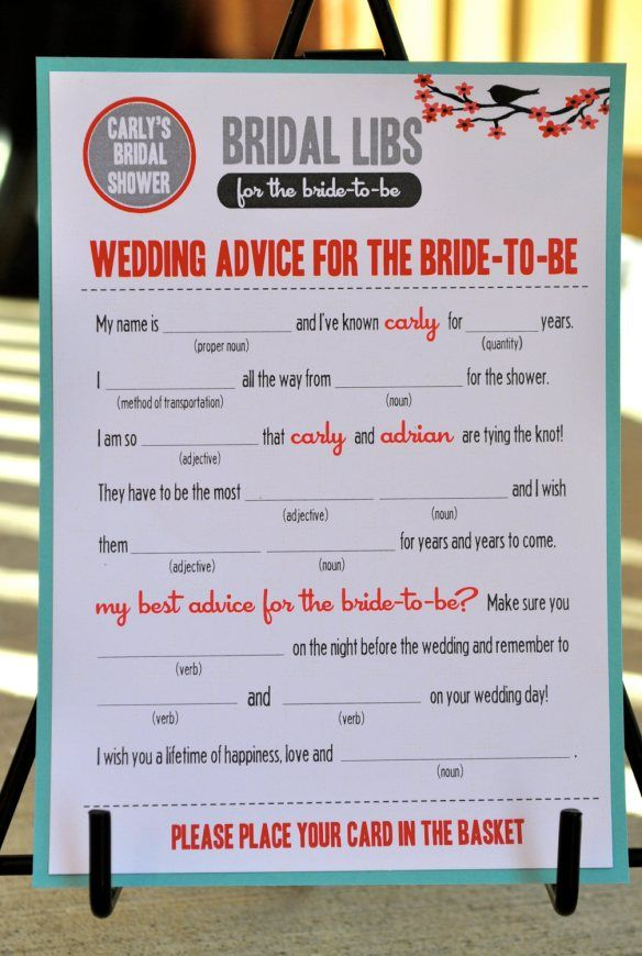 bridal shower mad libs