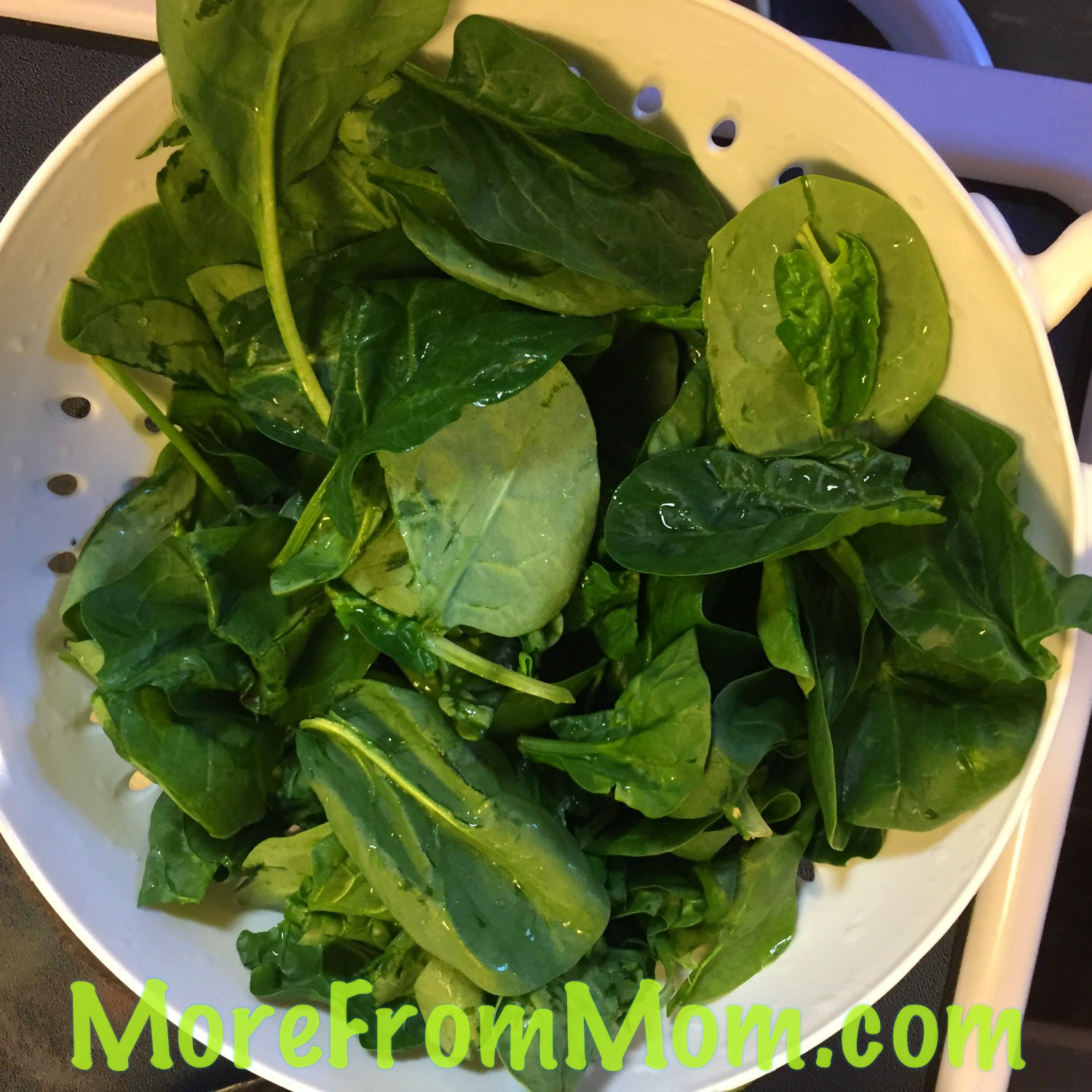Wash and destem your fresh spinach