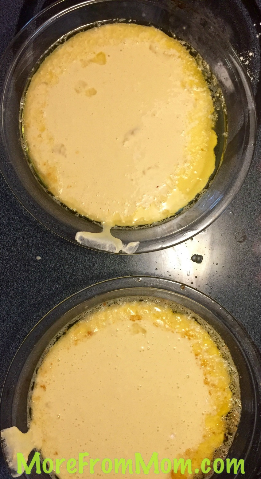 Poured into the butter